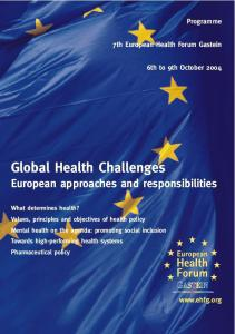 Global Health Challenges European approaches and responsibilities