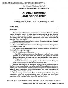 GLOBAL HISTORY AND GEOGRAPHY