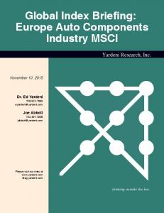 Global Index Briefing: Europe Auto Components Industry MSCI
