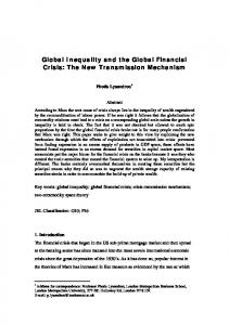 Global Inequality and the Global Financial Crisis: The New Transmission Mechanism