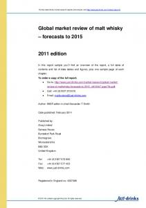 Global market review of malt whisky forecasts to 2015