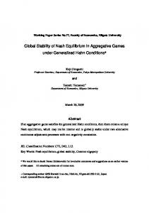 Global Stability of Nash Equilibrium in Aggregative Games under Generalized Hahn Conditions*