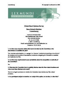 Global Stock Options Survey. Bonn Schmitt Steichen Luxembourg