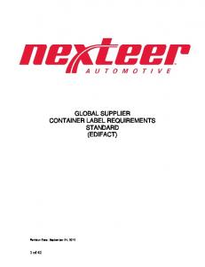 GLOBAL SUPPLIER CONTAINER LABEL REQUIREMENTS STANDARD (EDIFACT)