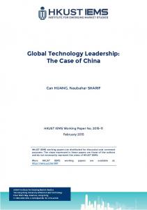Global Technology Leadership: The Case of China