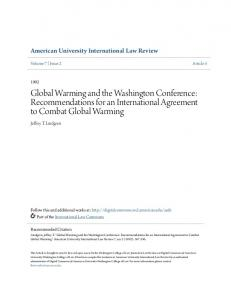 Global Warming and the Washington Conference: Recommendations for an International Agreement to Combat Global Warming