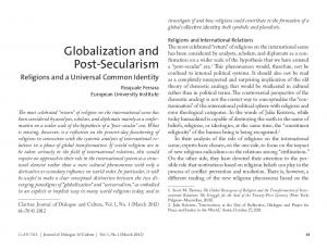 Globalization and Post-Secularism