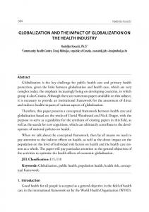 GLOBALIZATION AND THE IMPACT OF GLOBALIZATION ON THE HEALTH INDUSTRY