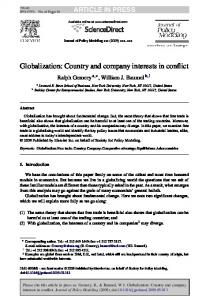 Globalization: Country and company interests in conflict