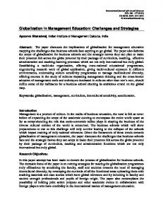 Globalization in Management Education: Challenges and Strategies