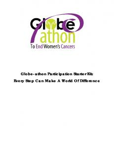 Globe-athon Participation Starter Kit: Every Step Can Make A World Of Difference
