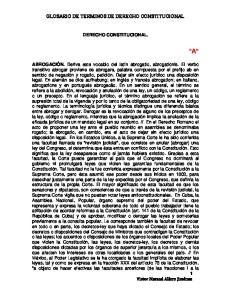 GLOSARIO DE TERMINOS DE DERECHO CONSTITUCIONAL DERECHO CONSTITUCIONAL