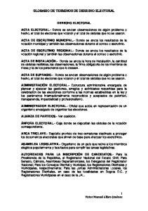 GLOSARIO DE TERMINOS DE DERECHO ELECTORAL DERECHO ELECTORAL