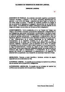 GLOSARIO DE TERMINOS DE DERECHO LABORAL DERECHO LABORAL