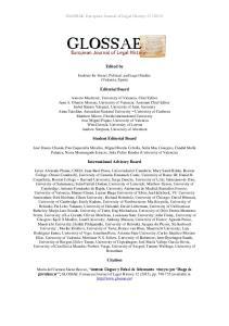 GLOSSAE. European Journal of Legal History 12 (2015) Edited by. Editorial Board. Student Editorial Board. International Advisory Board