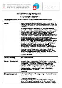 Glossary Knowledge Management. and Capacity Development