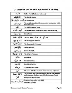 GLOSSARY OF ARABIC GRAMMAR TERMS