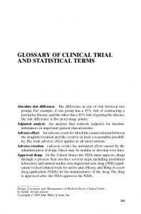 GLOSSARY OF CLINICAL TRIAL AND STATISTICAL TERMS