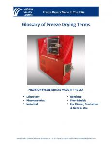 Glossary of Freeze Drying Terms