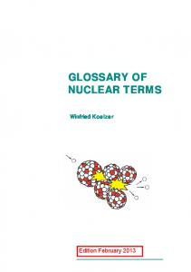 GLOSSARY OF NUCLEAR TERMS. Winfried Koelzer