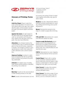 Glossary of Printing Terms A