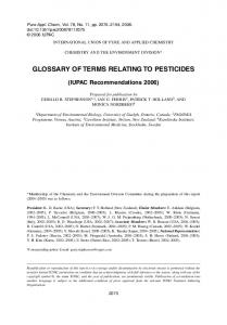 GLOSSARY OF TERMS RELATING TO PESTICIDES
