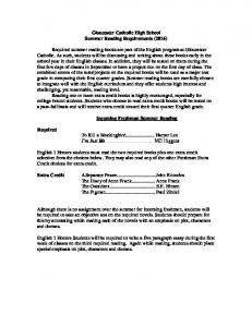 Gloucester Catholic High School Summer Reading Requirements (2016) Incoming Freshman Summer Reading