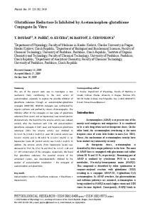 Glutathione Reductase Is Inhibited by Acetaminophen-glutathione Conjugate In Vitro