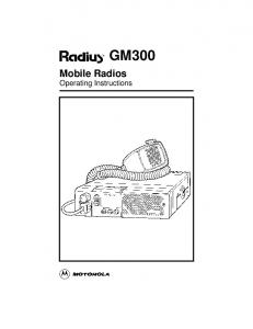 GM300. Mobile Radios Operating Instructions