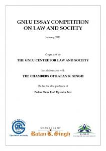 GNLU ESSAY COMPETITION ON LAW AND SOCIETY