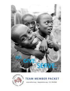 GO. GIVE.SERVE. TEAM MEMBER PACKET