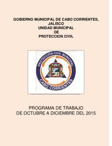 GOBIERNO MUNICIPAL DE CABO CORRIENTES, JALISCO UNIDAD MUNICIPAL DE PROTECCION CIVIL