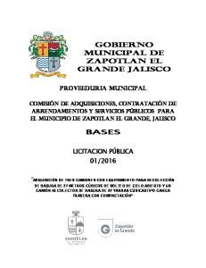 GOBIERNO MUNICIPAL DE ZAPOTLAN EL GRANDE JALISCO
