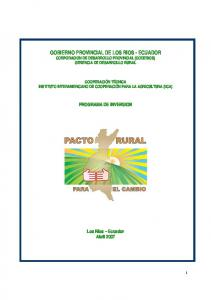GOBIERNO PROVINCIAL DE LOS RIOS - ECUADOR CORPORACION DE DESARROLLO PROVINCIAL (CODERIOS) GERENCIA DE DESARROLLO RURAL