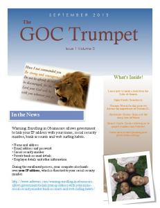GOC Trumpet. In the News. The. What s Inside! Issue 1 Volume 3