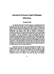 God and the Universe in Iqbal s Philosophy