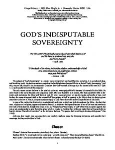 GOD S INDISPUTABLE SOVEREIGNTY