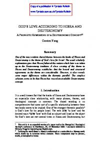 GOD S LOVE ACCORDING TO HOSEA AND DEUTERONOMY