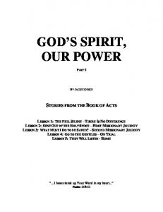 GOD S SPIRIT, OUR POWER
