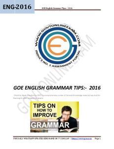 GOE ENGLISH GRAMMAR TIPS:- 2016