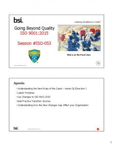 Going Beyond Quality ISO 9001:2015. Session #ISO-053. Agenda
