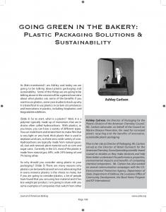 GOING GREEN IN THE BAKERY: Plastic Packaging Solutions & Sustainability