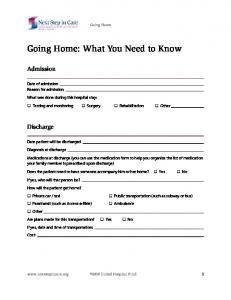 Going Home: What You Need to Know
