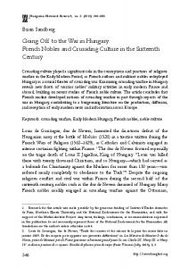 Going Off to the War in Hungary: French Nobles and Crusading Culture in the Sixteenth Century