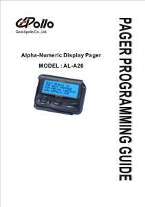 Gold Apollo Co., Ltd. Alpha-Numeric Display Pager MODEL : AL-A26