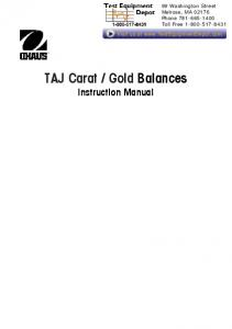 Gold Balances Instruction Manual