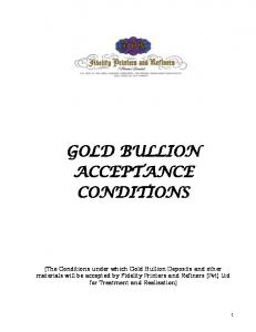GOLD BULLION ACCEPTANCE CONDITIONS