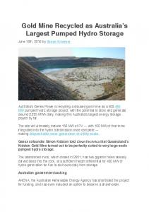 Gold Mine Recycled as Australia s Largest Pumped Hydro Storage