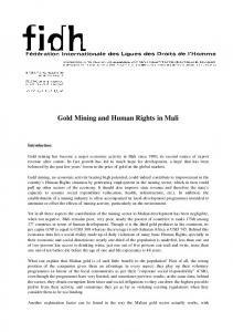 Gold Mining and Human Rights in Mali