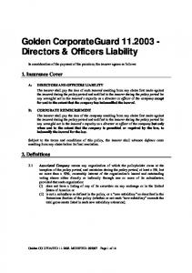 Golden CorporateGuard Directors & Officers Liability